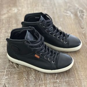 Ecco super comfy, soft leather high top sneakers.